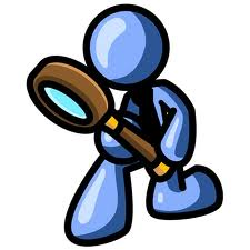 clipart of figure searching with magnifying glass
